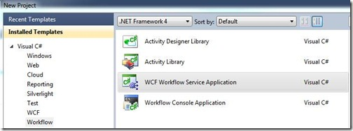WCF Workflow Service Application in the New Project dialog